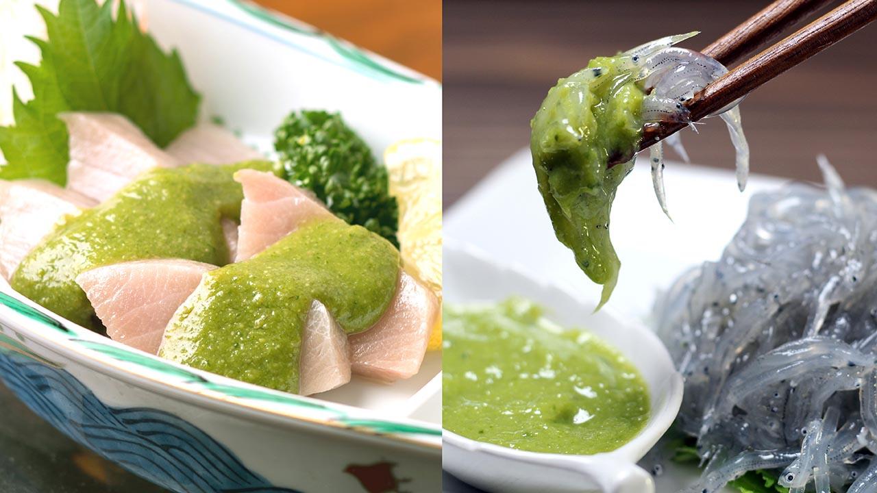 ご当地調味料葉にんにくぬたの製法や原料について。和風酢味噌使用例:ブリどろめ